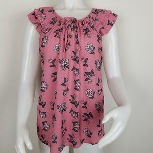 Xhilaration Lg Mauve Blush Cap Sleeve Floral Top